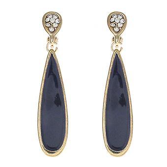 Clip On Earrings Store Dark Purple Enamel & Crystal Pendant Drop Clip On Earring