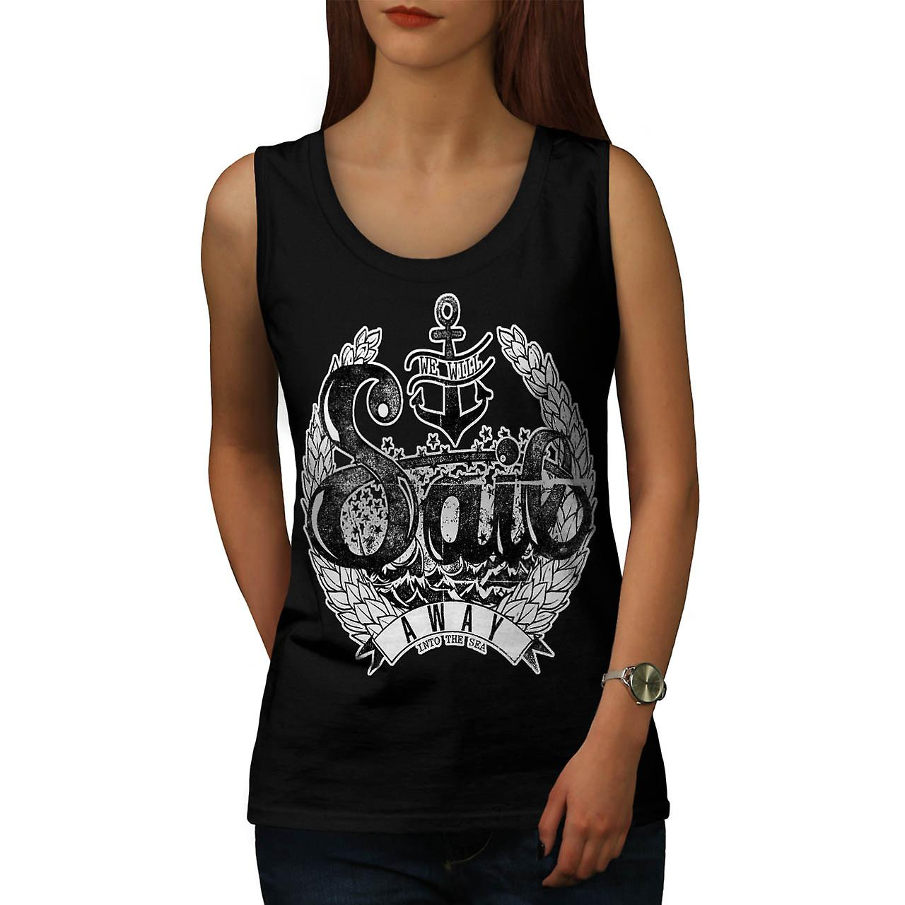 Sail Away Into Sea Boat Cruise Women Black Tank Top | Wellcoda