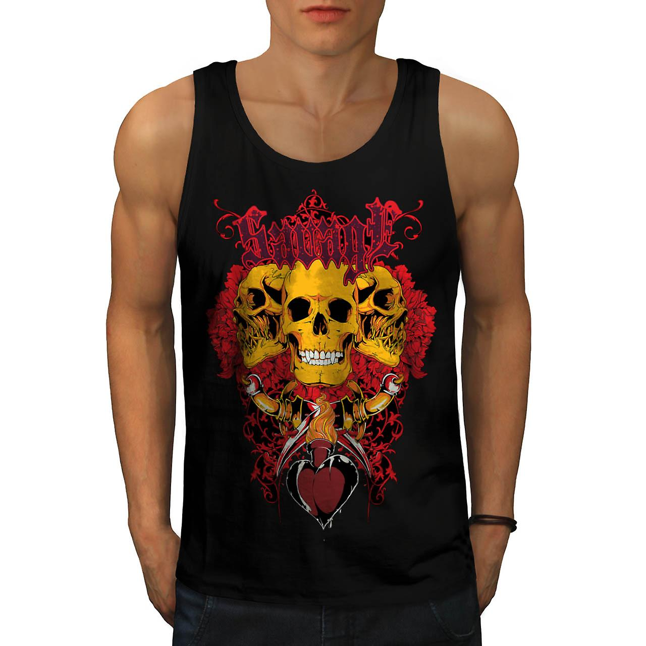 Savage Badass Rose Skull Giant Skull Men Black Tank Top | Wellcoda