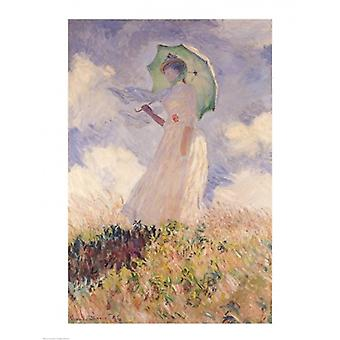 Woman with Parasol turned to the Left 1886 Poster Print by Claude Monet (18 x 24)