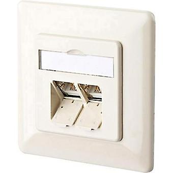 Network outlet Flush mount Insert with main panel and frame CAT 6A 2 ports Metz Connect 130C381001-I Pearl white