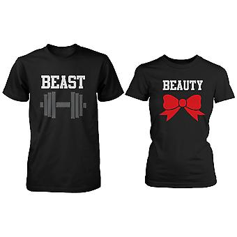 BLACK Beauty & bête Couple T-shirt (deux chemises) correspondance Couple T-Shirts