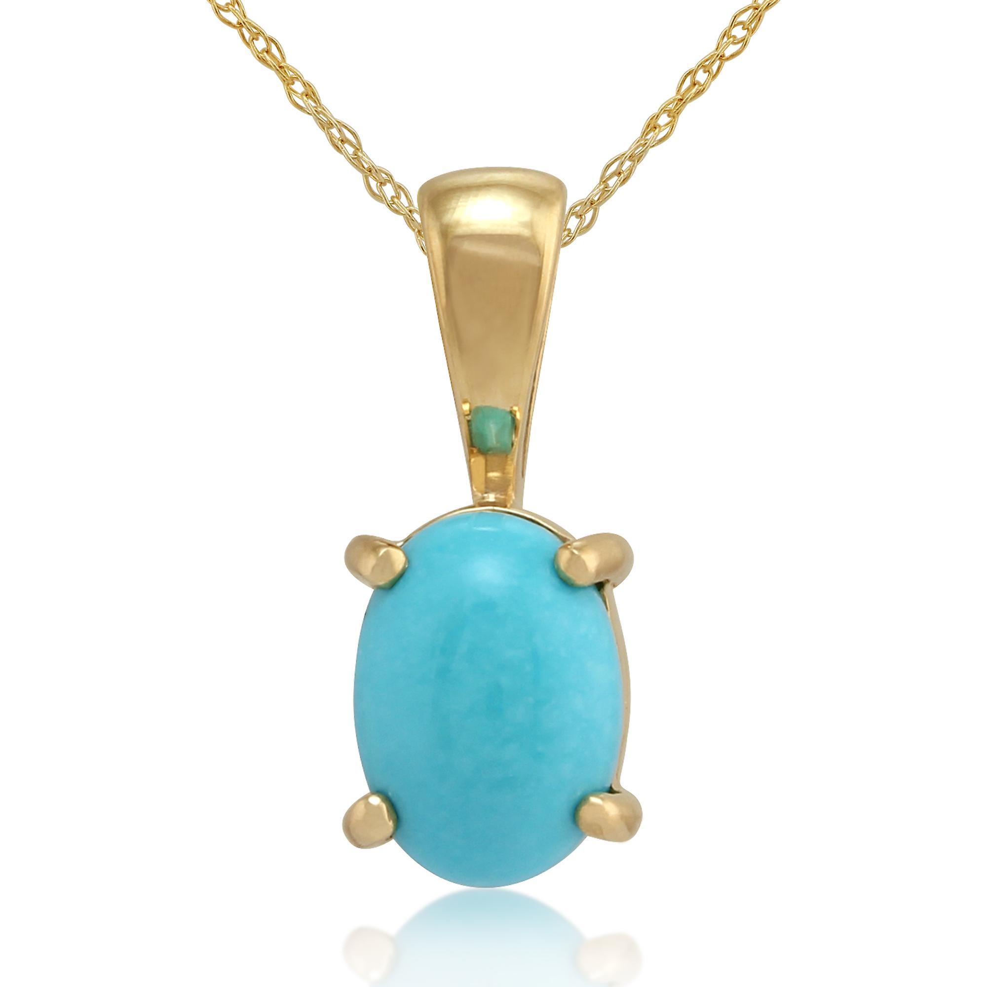 9ct jaune or 0,54 ct 4 griffe mis pendentif ovale Turquoise naturelle sur chaîne