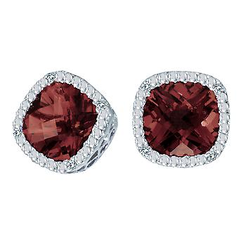 14k White Gold Cushion Cut Garnet And Diamond Earrings