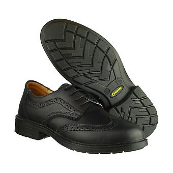 Ambers Mens Black PU Sole Slip Resistance Padded Ankle Brogue Safety Shoes
