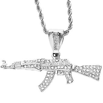 Iced out bling hip hop pendant - ASSAULT RIFLE