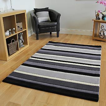 Black & Grey Striped Wool Rug Kingston