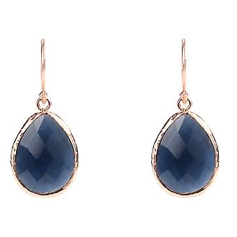 925 Sterling Silver Small Dangle Drop Gold Earrings Navy Dark Blue Sapphire Hook