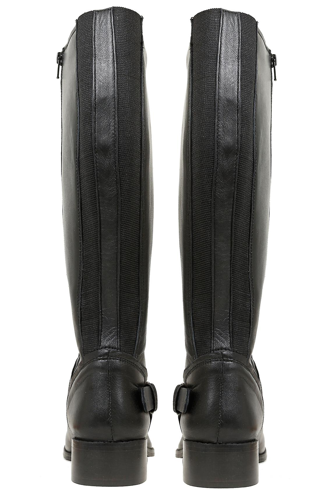 Black Knee High Leather Riding Boot With Buckle Trim & XL Calf Fitting In EEE Fit