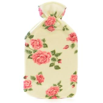 Kids Quality Soft Floral Printed Fleece Covered Natural Rubber Hot Water Bottle