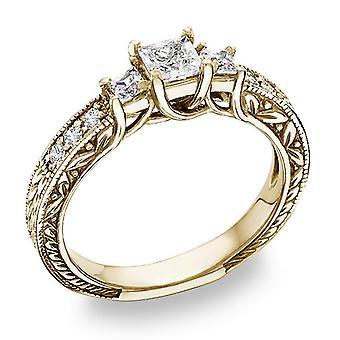 Antique-Style 3/4 Carat Three-Stone Princess-Cut Diamond Engagement Ring in 14K Yellow Gold