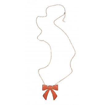 W.A.T Longer Length Gold Style Orange Enamel Bow Necklace