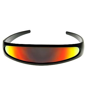 Futuristiska smala Cyclops färg speglad lins Visor solglasögon