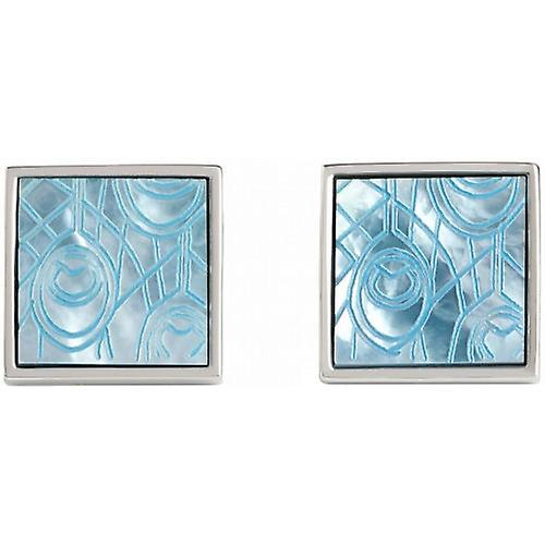 Simon Carter Peacock Feather Mother of Pearl Cufflinks - Blue