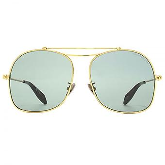 Alexander McQueen Edge Square Aviator Sunglasses In Gold Green