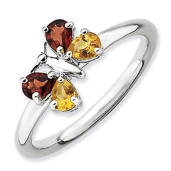 2.25mm Sterling Silver Prong set Rhodium-plated Stackable Expressions Polished Ci and Ga Butterfly Ring - Ring Size: 5 t