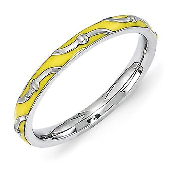 2.5mm Sterling Silver Stackable Expressions Yellow Enamel Ring - Ring Size: 5 to 10