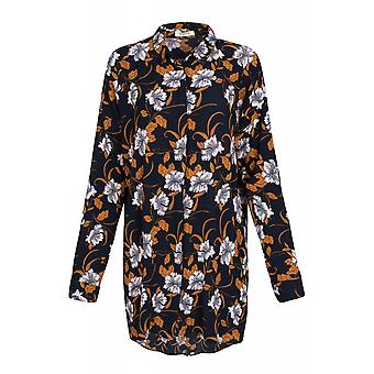 pièces Tyra LS Shirt blouse women's long sleeve blouse Navy with flower pattern