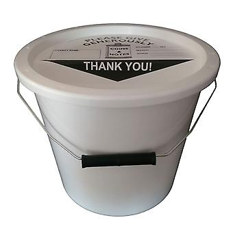 Charity Money Collection Bucket 5.7 Litres - White