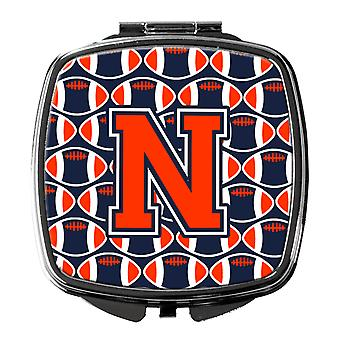 Letter N Football Orange, Blue and white Compact Mirror