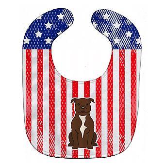 Bavoir de bébé chocolat USA patriotique Staffordshire Bull Terrier