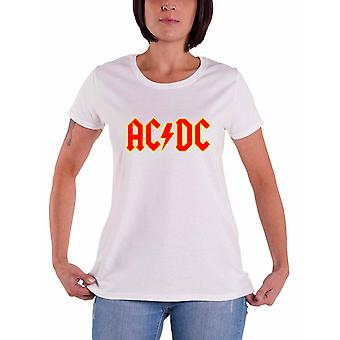 AC/DC T Shirt Classic Logo new Official Womens super Skinny Fit White