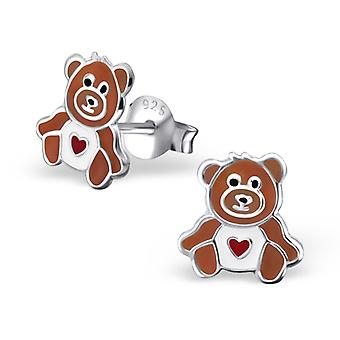 Bear - 925 Sterling Silver Colourful Ear Studs
