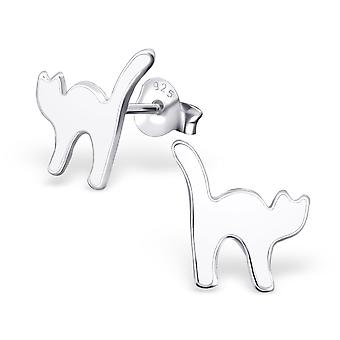 Cat - 925 Sterling Silver Colourful Ear Studs