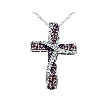 White and Champagne Diamond Cross Pendant Necklace 1/2 Carat (ctw) in 10K White Gold