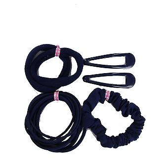 School Hair Accessory Set Sleepies Clips, Hair Bobble Elastics & Scrunchie