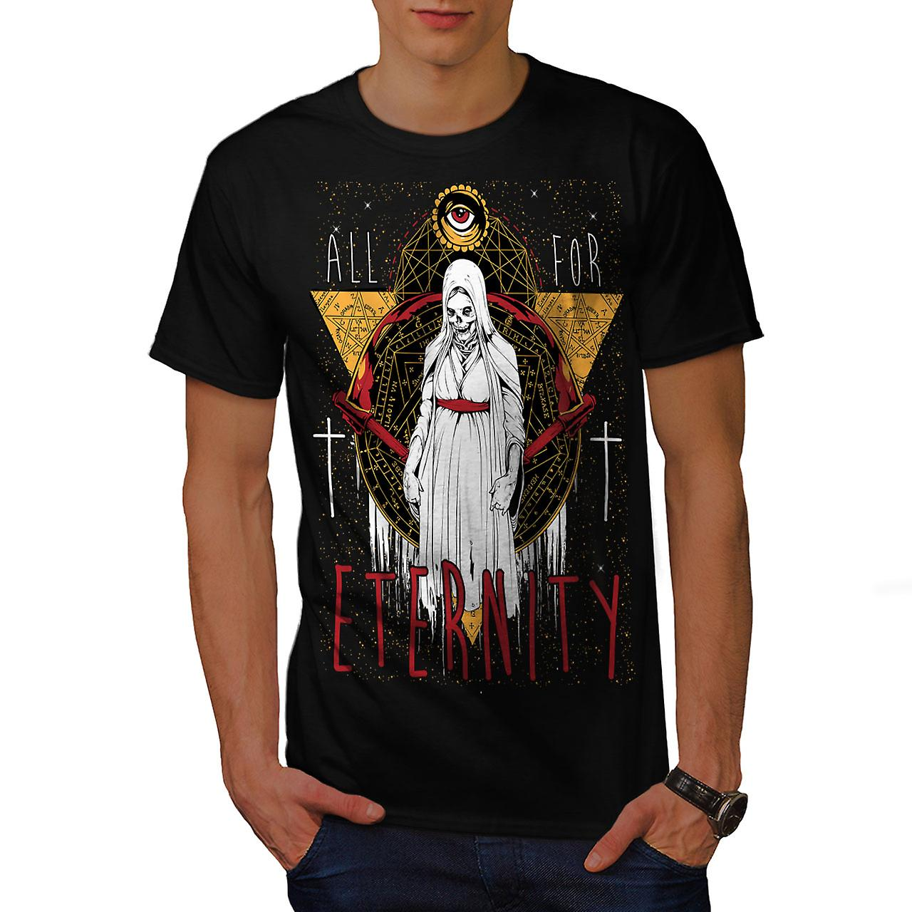 All For Eternity Skull Men Black T-shirt | Wellcoda