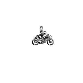 Moto 20x14mm argent et pendentif Rider ou charme