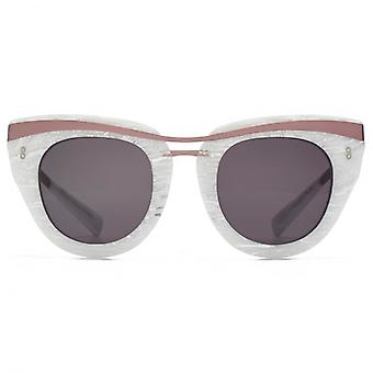 Hook LDN Clique Metal Brow Cateye Premium Acetate Sunglasses In White Marble