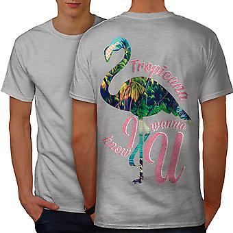 Tropic Jungle Cool Men GreyT-shirt Back | Wellcoda