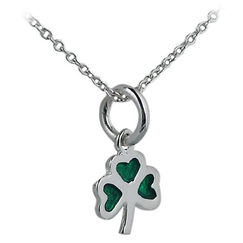 Silver 9x9mm Shamrock with green cold cure enamel with a Rolo chain