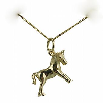 9ct Gold 12x16mm Pony Pendant with a curb Chain 20 inches