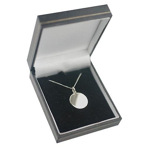 9ct White Gold 20mm round plain Disc with a curb Chain 16 inches Only Suitable for Children