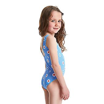 ZOGGS Girls Holiday Scoopback Swimsuit - Blue/Multi