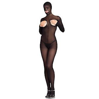 Worden goddelozen BWB101 Hooded Bodystocking Cupless en Crotchless
