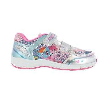 Girls MLP My Little Pony Pink with Silver Glitter Hook and Loop Trainers UK Sizes 6 - 12