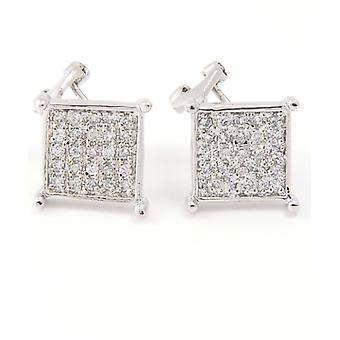 Sterling 925 Silver MICRO PAVE earrings - VILLA 10 mm