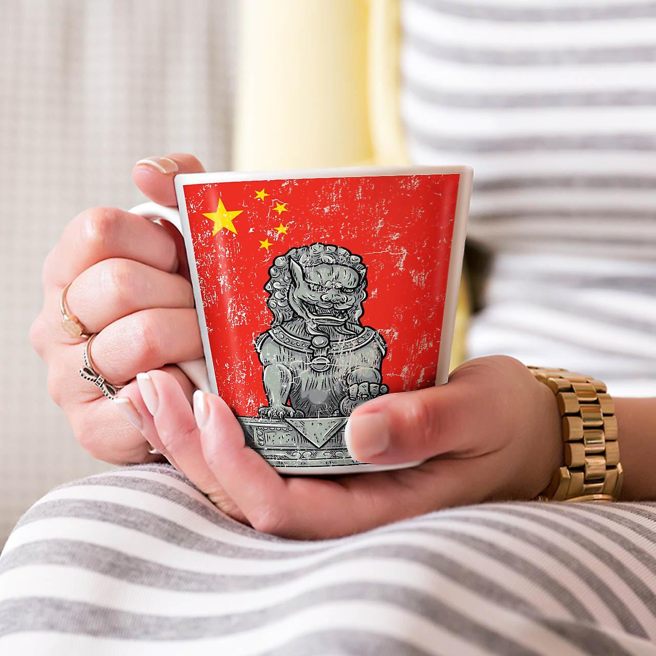 China Flag Lion NEW White Tea Coffee Ceramic Latte Mug 12 oz | Wellcoda