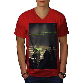 Music Vibes Concert Men RedV-Neck T-shirt | Wellcoda