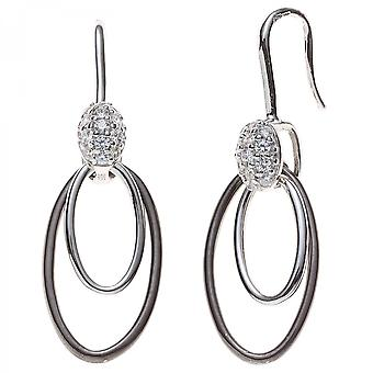 Part blackened with cubic zirconia earrings 925 Sterling Silver earrings silver hoop earrings