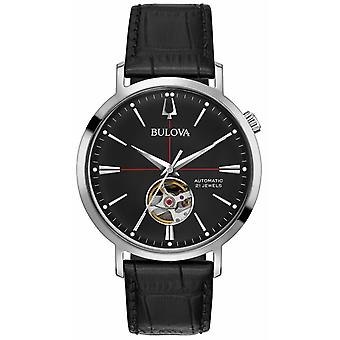 Bulova Men Automatic Black Leather 96A201 Watch