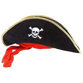 Wicked Pirate Hat Black with Gold Trim & Red Bandana Fancy Dress Party Accessory