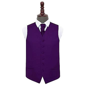 Purple Plain Satin Wedding Waistcoat & Cravat Set