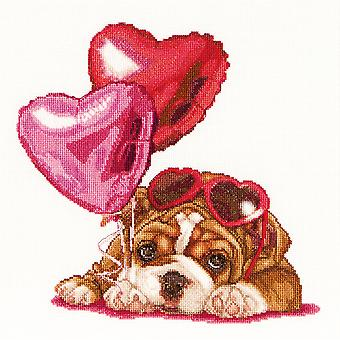 Valentine's Puppy On Aida Counted Cross Stitch Kit-12.25