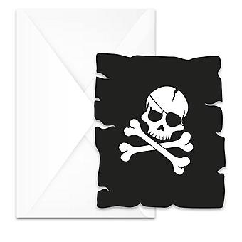 Pirates Black Skull Pirat Totenkopf Party Einladungskarten 6 Stück Kindergeburtstag Mottoparty