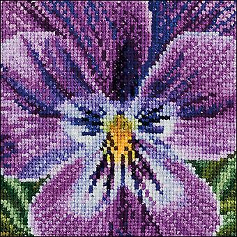 Pansy IV On Aida Counted Cross Stitch Kit-3.75